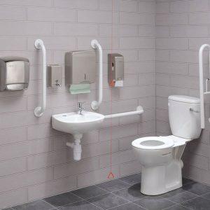 תא שירותים נגיש מפואר לנכים ונאשים עם מוגבלויות