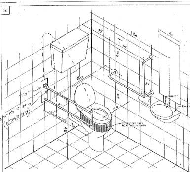 שרטוט תא שירותים ניידים לנכים