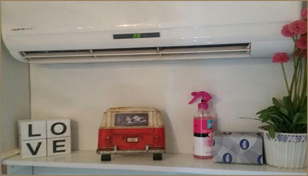 אבזור השירותים הניידים הכולל מזגן, מפזר ריח, עציץ ופריטים דקורטיביים