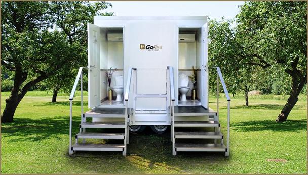 שירותים ניידים מאובזרים עם 2 תאים